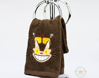 My Neighbor Totoro Hand Towel - Catbus - Geeky Embroidered Bathroom Towel or Kitchen Decor
