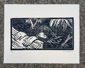 Hand pulled linocut print--Black water