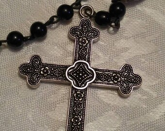 Black Obsidian glass skull  bead Rosary necklace (2 )(ro-26-001)