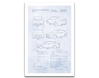 Nikola tesla poster etsy tesla electric automobile patent art giclee on archival matte paper malvernweather Images