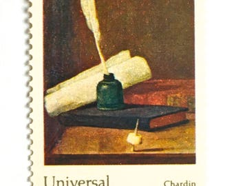 10 Quill Pen and Ink Postage Stamps // Vintage Letter Writing Painting // 10 Cent Postal Postage Stamps for Mailing