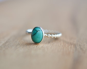 Sterling Silver Turquoise Ring - Genuine Turquoise Ring - Oval Turquoise Ring - December Birthstone Ring
