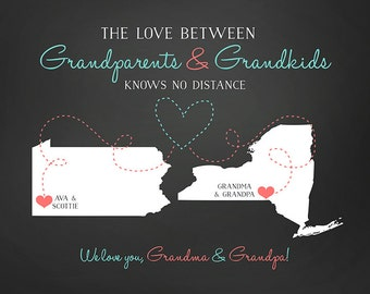 Grandparents Gift, Parents, Long Distance Custom Gift, Grandchildren Quote, Grandma and Grandpa, Grandmother, Mother in Law | WF165