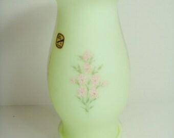 Fenton Pink Flowers Hurricane Lamp Candle Holder - Pink Anemone Flowers Fenton Lamp Candleholder