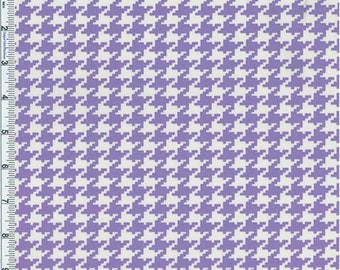 Purple Houndstooth Print Cotton Twill Decorating Fabric, Fabric By The Yard