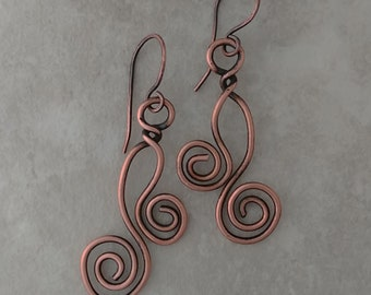 Handmade Copper Wire Wrap Earrings