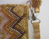 Vintage  PURSE  sequined and beaded case GOLDEN and BROWN
