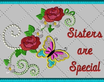 """Machine Embroidery Design-ITH-Mug Rug-""""Sisters are Special"""" with Butterfly and Roses includes 2 sizes, 5x7 and 6x10 hoops"""