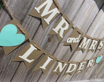 Mr & Mrs Banner, Wedding Banner, Last Name Banner, Wedding, Wedding Decor, Custom Wedding Banner, Mr Mrs, Mr and Mrs, Mr and Mrs Banner