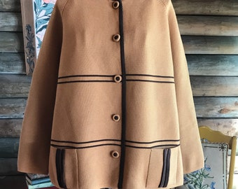 1970s retro camel cardigan with brown details L - XL
