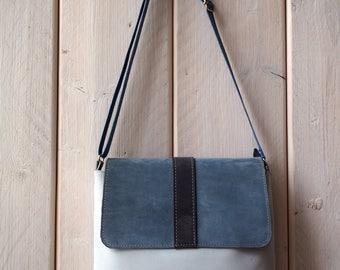Crossbody bag, leather cross body bag, Blue Leather Bag, Postmen Leather bag, Cross body Bag, Handmade Leather Cross Body