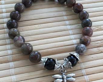 Dragonfly Bracelet Wrist Mala Australian Agate and Black Onyx Gemstone Meditation Stacking Bracelet Jewelry