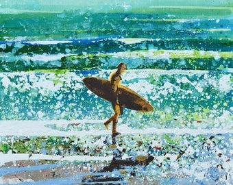 "SURFER ART, SURFER prints, surf art, surf decor, surf artist, surf art, Polzeath Cornwall ""Coast Life, Polzeath"" by Melanie McDonald"