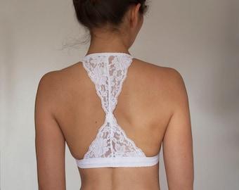 White Lace Bralette. Triangle Back Halter Wireless Bra Top. Bridal Lingerie