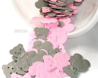120 Mixed Pink & Grey Embossed Teddy Bear Cut-outs, Confetti - Set of 120 pcs