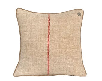 """German Vintage Burlap-Linen mix Pillow with leather piping  -  19 x 19"""""""