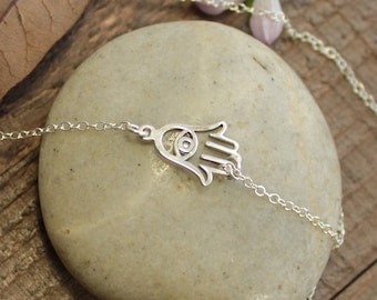 Sterling Silver Hamsa With Evil Eye Layering Necklace