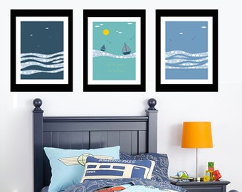Little Boy's room Decor- art- Printable Poster- Instant Download - Sailor, sailing away, dreams