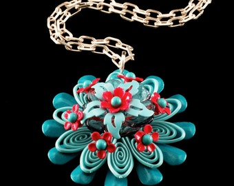 """10% OFF SALE Vintage Turquoise and UV Reactive Pink/Red Bloom Flower Necklace on 18"""" Solid Sterling Silver Chain Retro Hippie Floral Jewelry"""