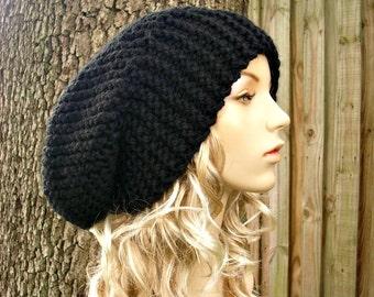 Black Knit Hat Black Womens Hat Black Slouchy Beanie - Black Slouchy Hat Black Mens Hat - Black Hat Black Beanie - 34 Color Choices