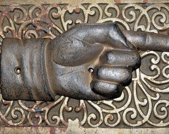 Pointing Hand - Vintage Style Cast Iron Wall Hanging or Sign