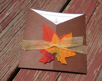 Fall Wedding Invitations - Autumn Leaves Wedding Invitation - Fall Color Scheme Wedding - Orange, Brown, Gold - Rustic Wedding