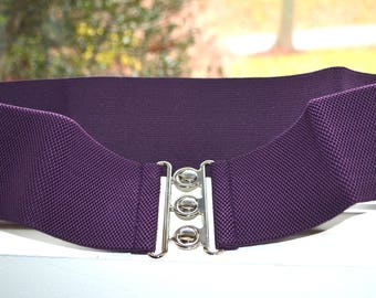 PLUS SIZE Cinch belt , Wide elastic stretch corset belt, Plus size belt, Purple elastic belt,