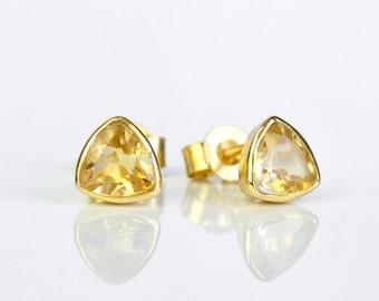 Triangle Citrine Stud Earrings, November Birthstone Tiny Stud Earrings Citrine Post Earrings Small birthstone stud earrings Mothers day gift