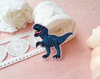 tiny cool dinosaur patch/blue tyrannosaurus patch/iron on patch/embroidered patch/patch for jacket