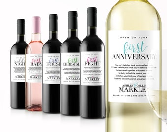 Wedding Milestone Wine Labels - Unique Wedding Gifts - Engagement Gift Celebrating Marriage Firsts - Wine Poems - Gift Ideas