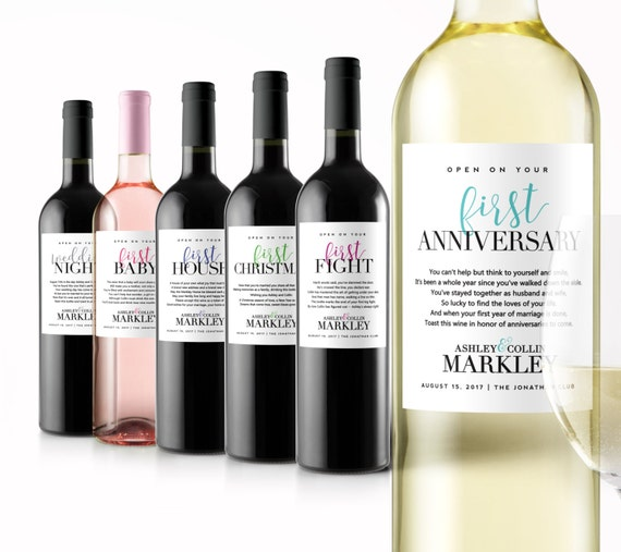 Good Last Minute Wedding Gifts: Wedding Milestone Wine Labels Unique Wedding Gifts