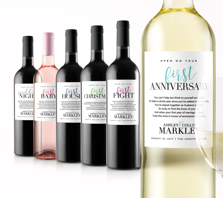 Bridal Unique Gift Ideas: Wedding Milestone Wine Labels Unique Wedding Gifts