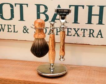 Handmade shaving set.  Razor Set.   Tamarind - Mach 3 - handmade - fathers day shaving gift - unique gift for him or birthday gift for dad