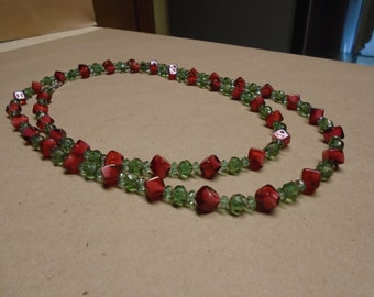 Very long Czech glass bead necklace