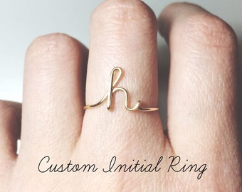 Custom Initial ring sterling silver letter ring/gold fill initial ring/stack rings/name ring/personalized bridesmaid gift/wedding jewelry