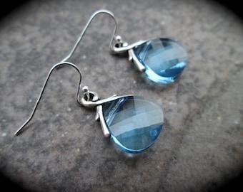 Swarovski Aquamarine Blue Briolette earrings Wedding Jewelry Prom Jewelry