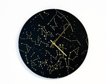 Modern Black Wall Clock, Astronomy Home Decor and Art, Sustainable Wood Wall Decor
