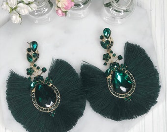 Dark Emerald Green Crystal Tassel Statement Earrings