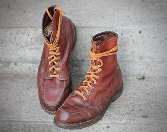 Excellent heritage oil tanned amber leather moc toe work boots - USA made by Red Wing - rare size US 10 EE Wide - May fit 10 to 11