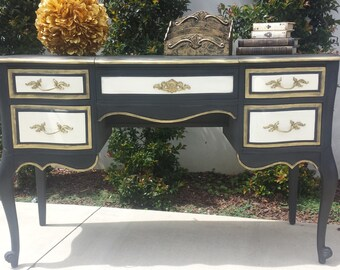 SOLD -- Vintage French Provincial vanity desk - - shabby black, white and gold beauty