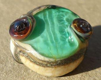 Ocean Urchin Egg- Teal Tide Reflection- handmade lampwork small bead focal in rainbow raku  sea urchin impression