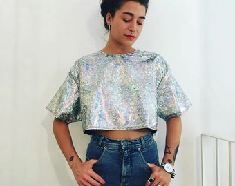 Handmade Holographic Cropped Shirt - Dress One Size  S/M/L  Various Colors