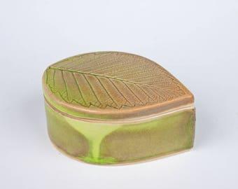 Handmade box, leaf shape, ceramic, slab built, chartreuse green, porcelain