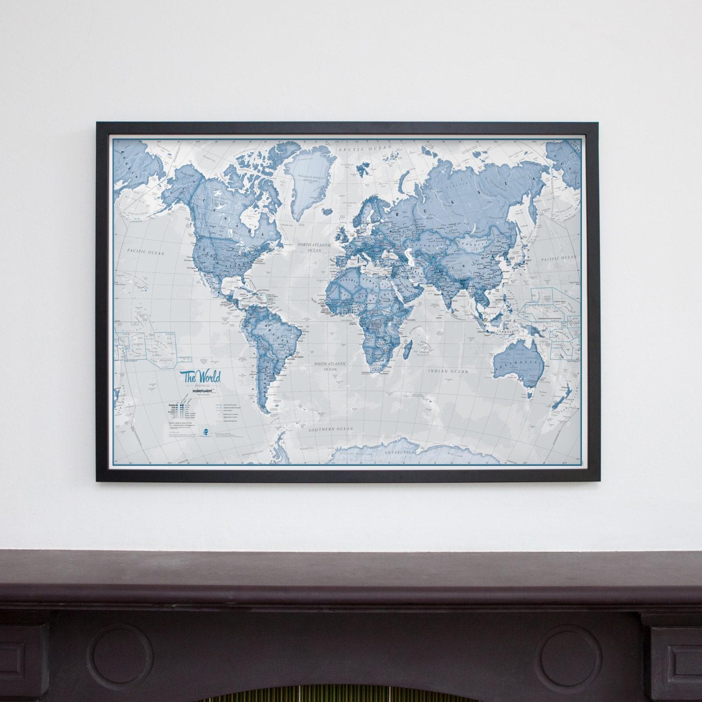 Marcos \'El mundo es arte\' Wall Map azul decoración