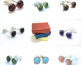 Earrings Sale- Gemstone Earrings Studs Set, Earrings Sale, Pick Two Amethyst, Onyx, Turquoise, Peridot and More