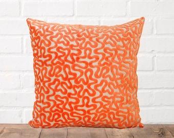 Orange Chenille Squiggles Pillow