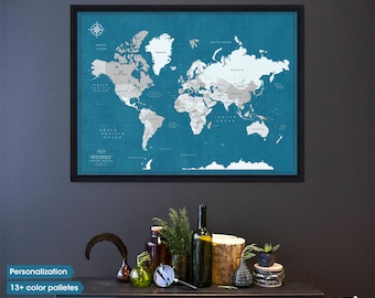 Wall map / Family travel map / World map with pins / Travel gift / travellers gift / map of the world pinboard
