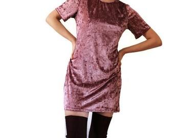 Pink Velvet Shirt Dress / Velvet Dress / Mini 90s Velvet Dress / 1990s Club Dress / Party Dress / Velour Dress /Soft Grunge Dress