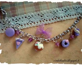 Polymer clay liliac sweet bracelet (miniature food jewelry)