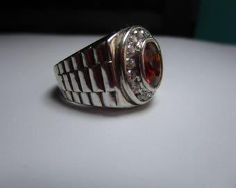 Sterling Silver Mandarin Garnet Ring size 8 1/2